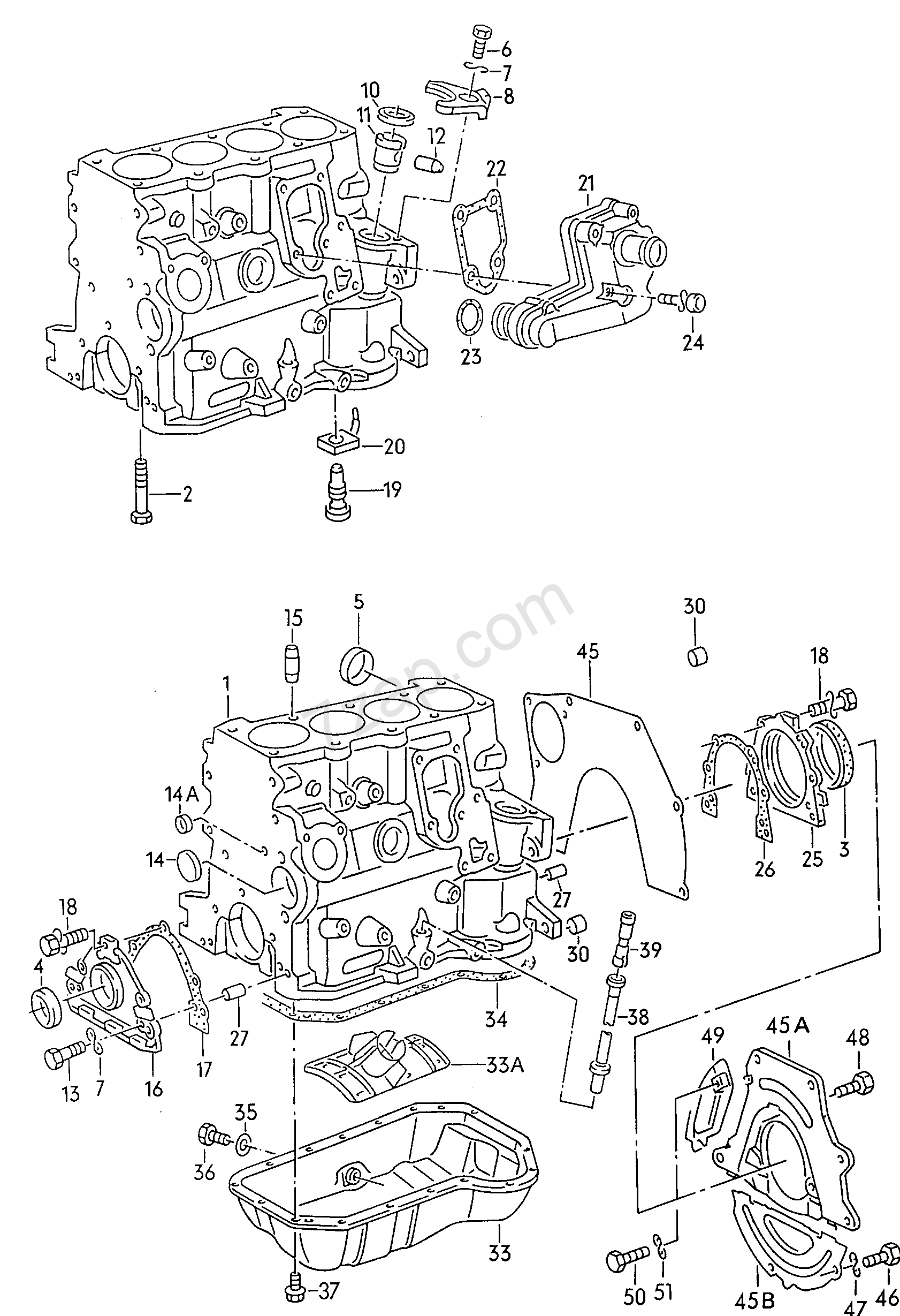 cylinder block with pistons  oil sump alhambra  al  1996