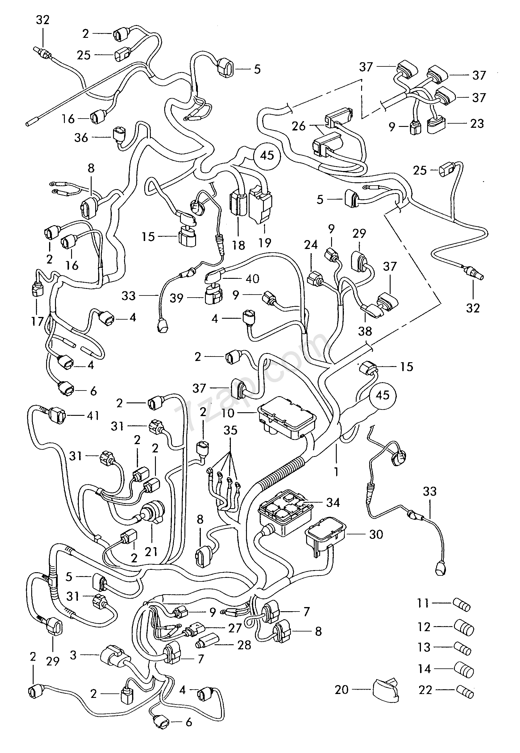 individual parts  wiring harness for interior  are